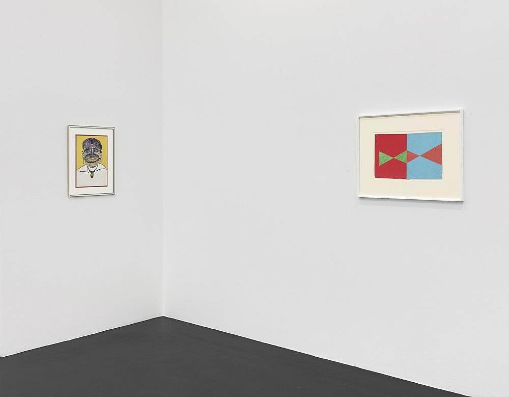 "Lukas Duwenhögger – ""Diamond Shapes in Advance"", 1977 gouache and oil pastel on paper in artist's frame 56 x 73,5 cm  Lukas Duwenhögger ""The Empress"", 1979 collage and lacquer on paper in artist's frame 57,5 x 45 cm  Installation view Galerie Buchholz, Köln 2021"