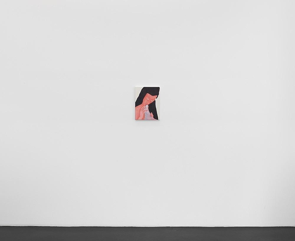 "Katharina Wulff – ""Die Affäre"", 2021 gouache on canvas 40,5 x 30 cm  Installation view Galerie Buchholz, Köln 2021"