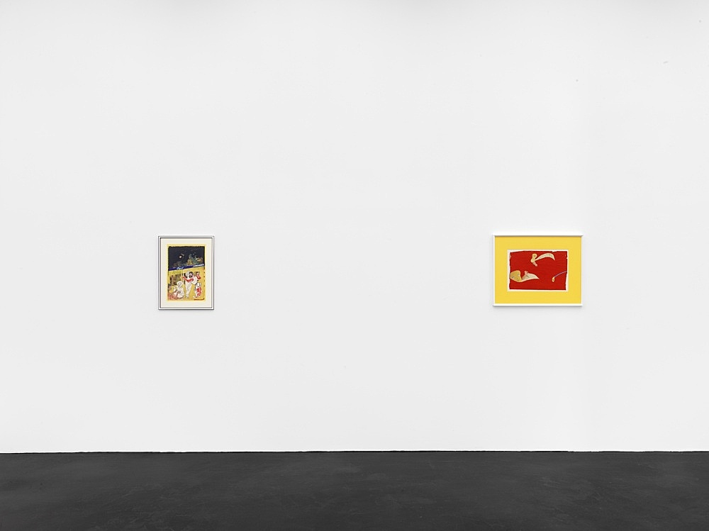 """Lukas Duwenhögger – """"A Controversial Bus Ride"""", 1979 collage and lacquer on paper in artist's frame 58 x 44 cm  Lukas Duwenhögger """"Forbidden Fruit"""", 1977 gouache and collage on magazine paper in artist's frame 56 x 70,5 cm  Installation view Galerie Buchholz, Köln 2021"""