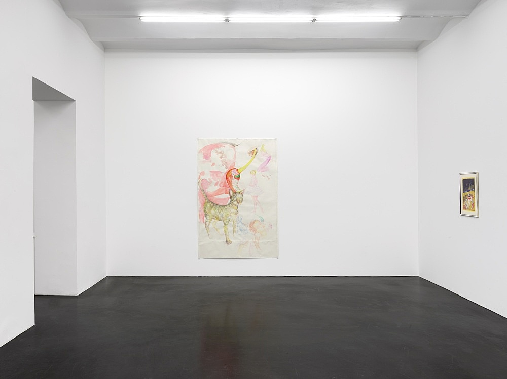 """Katharina Wulff – """"Einige Geschöpfe"""", 2021 coloured pencil and gouache on paper 210 x 139 cm  Lukas Duwenhögger """"A Controversial Bus Ride"""", 1979 collage and lacquer on paper in artist's frame 58 x 44 cm  Installation view Galerie Buchholz, Köln 2021"""