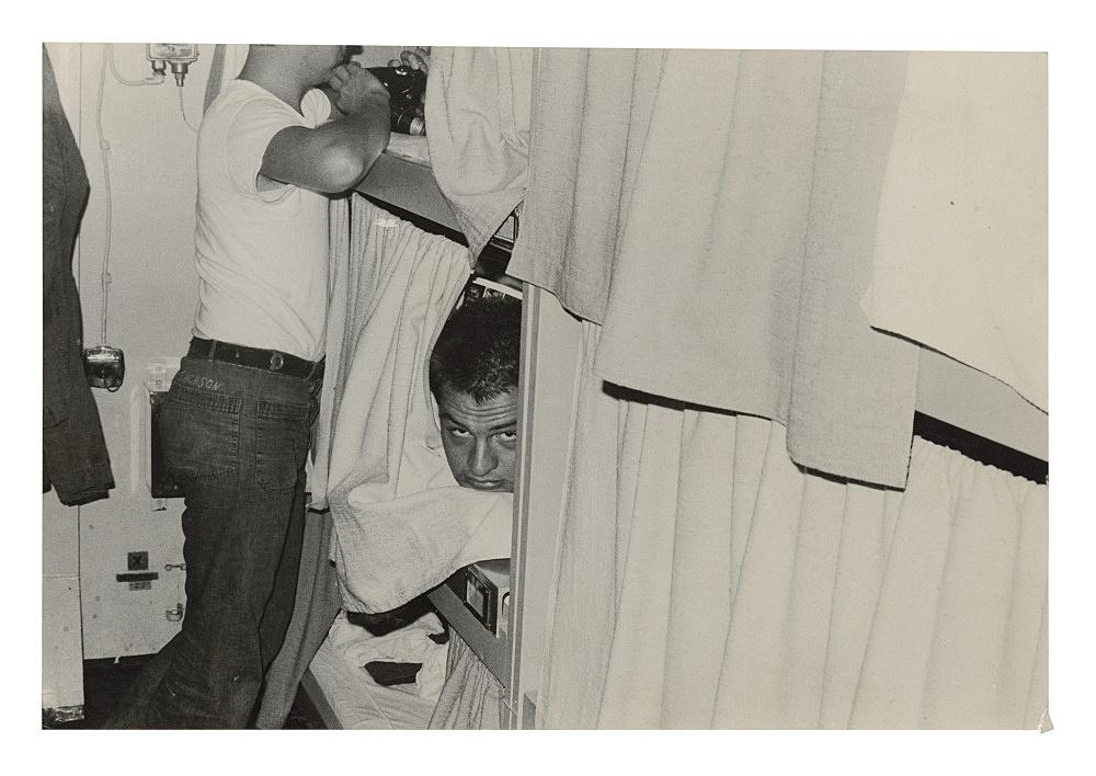 "Alvin Baltrop – ""The Navy (man in bunk)"", n.d. (1969-1972) silver gelatin print 11.7 x 17.1 cm"