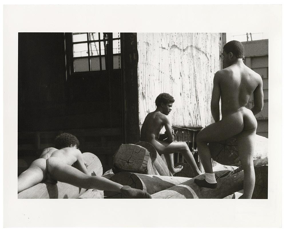 "Alvin Baltrop – ""The Piers (three men on dock)"", n.d. (1975-1986) silver gelatin print image size: 15 x 22.5 cm paper size: 20.2 x 25.2 cm"