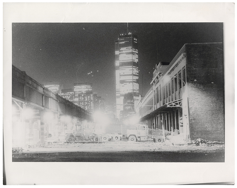 "Alvin Baltrop – ""World Trade Center at Night (Westside Ghost)"", n.d. (1975-1986) silver gelatin print (vintage print) image size: 21.5 x 32.5 cm paper size: 27.6 x 34 cm"