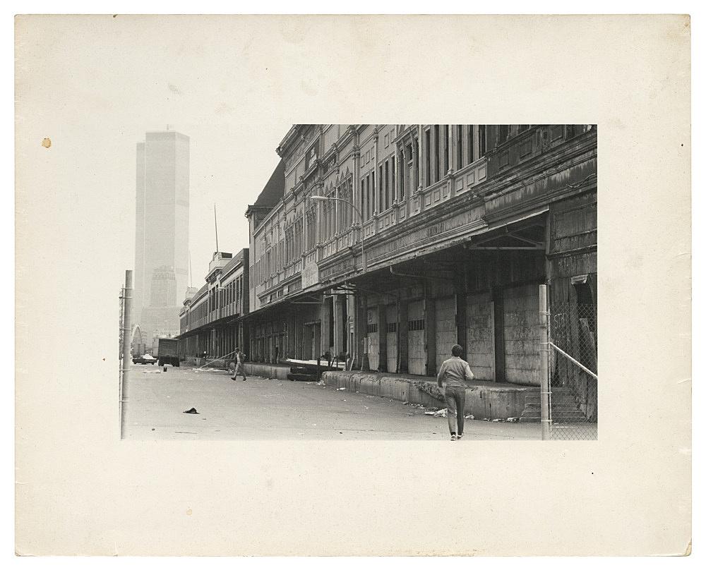 "Alvin Baltrop – ""Pier façade with World Trade Center"", n.d. (1975-1986) silver gelatin print image size: 11 x 17.8 cm paper size: 20.3 x 25 cm"