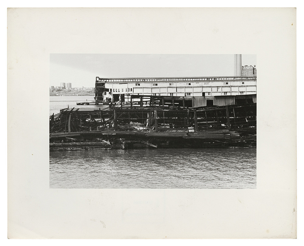 """Alvin Baltrop – """"The Piers (collapsed architecture with figure)"""", n.d. (1975-1986) silver gelatin print image size: 11.7 x 18 cm paper size: 20.1 x 25.3 cm"""