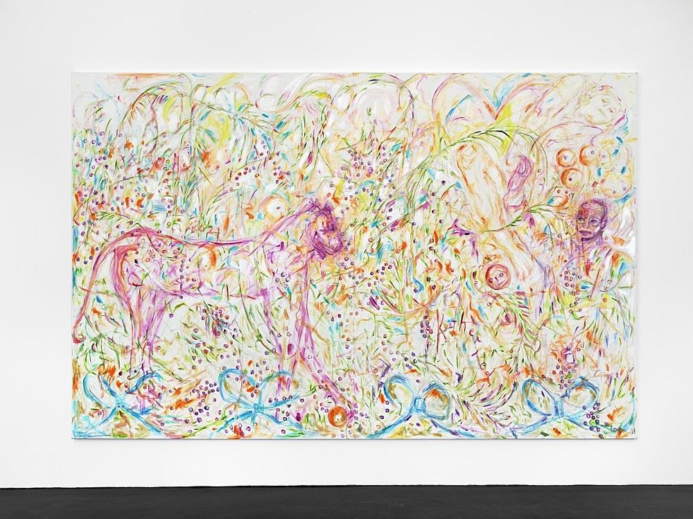 Jutta Koether – UnphotogRaphable, 2021 oil on canvas 220 x 340 cm installation view Galerie Buchholz, Köln 2021