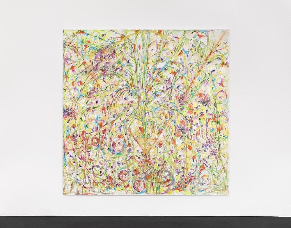 Jutta Koether – UnphotogrAphable, 2021 oil on canvas 220 x 220 cm installation view Galerie Buchholz, Köln 2021