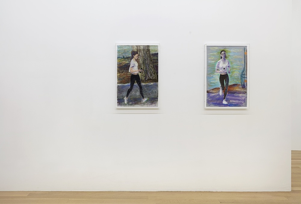 John Kelsey – Emily in Paris 1, 2021 pastel on paper in artist's frame 73 x 53 cm  Emily in Paris 2, 2021 pastel on paper in artist's frame 73 x 53 cm  installation view Galerie Buchholz, New York 2021